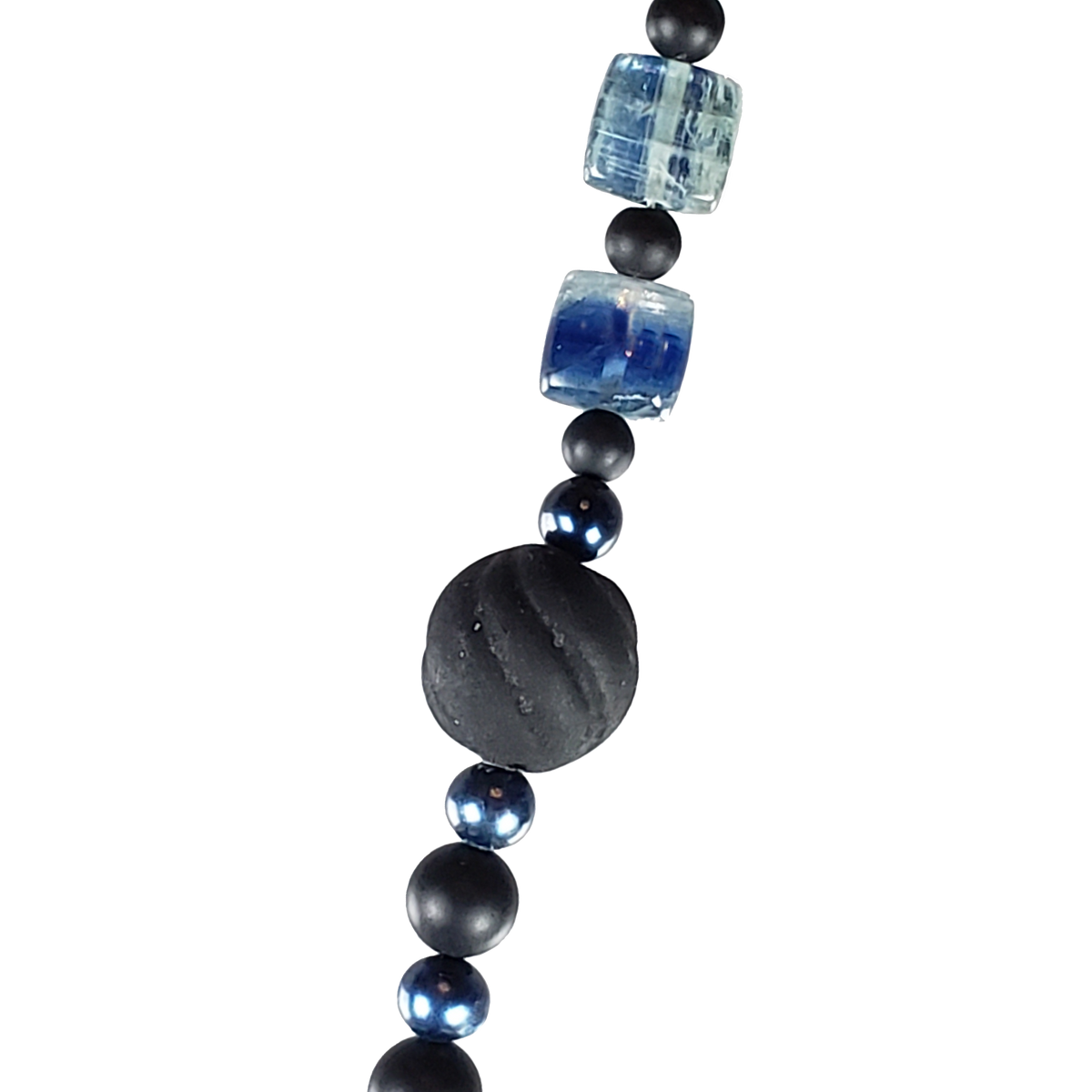Kyanite Flats & Black Glass Necklace