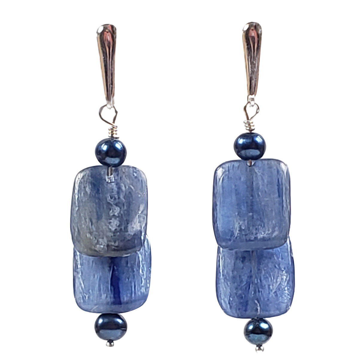 Kyanite Flats & Pearl Earrings
