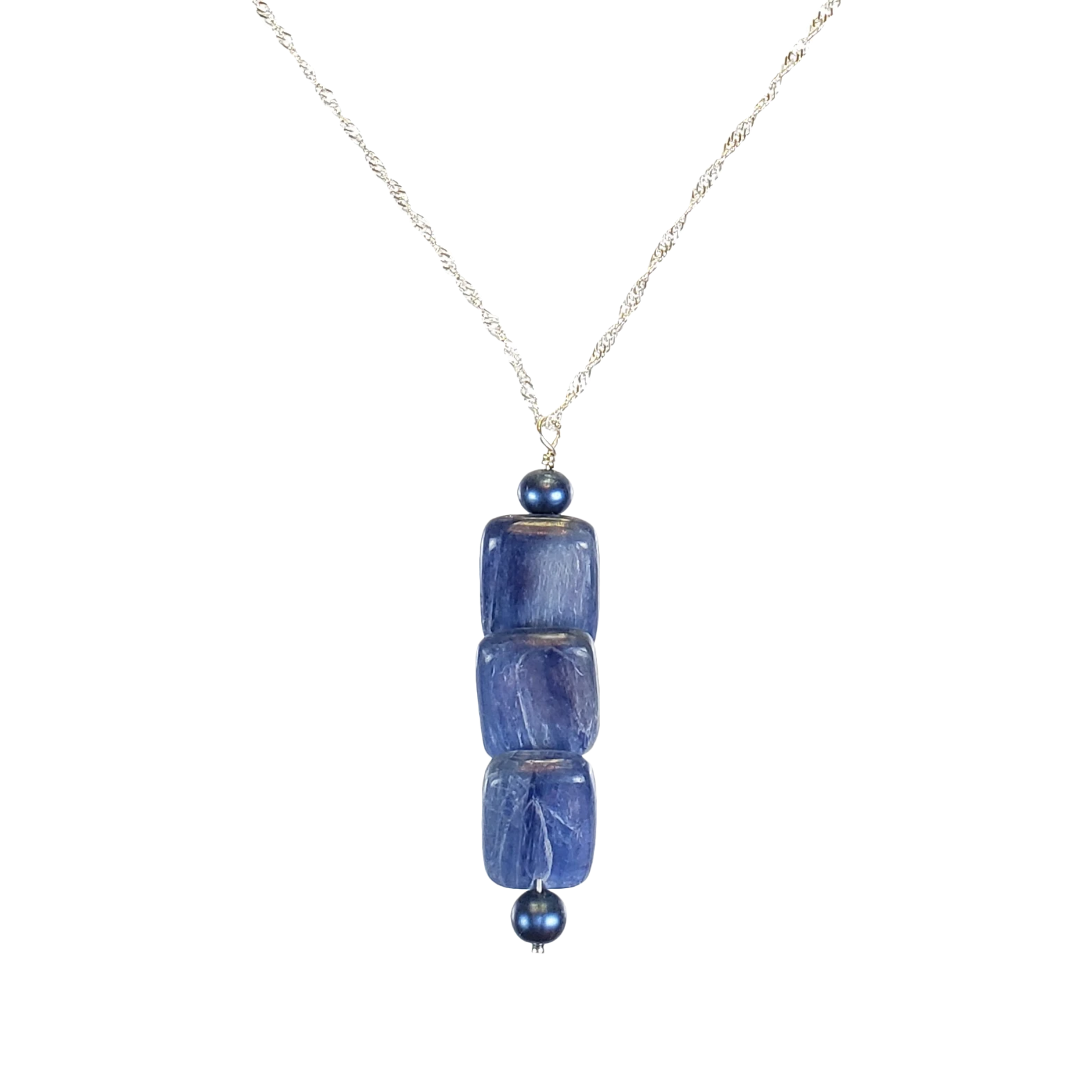 Kyanite Flats Pendant on Sterling Chain