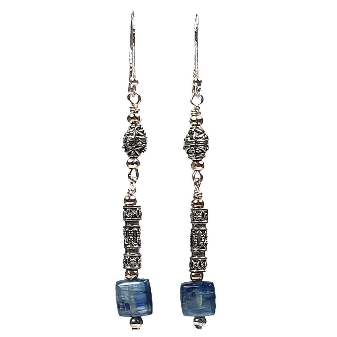 Kyanite & Pewter Earrings 1 Stone (L)