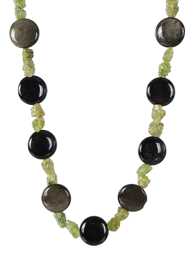 Obsidian & Peridot Necklace