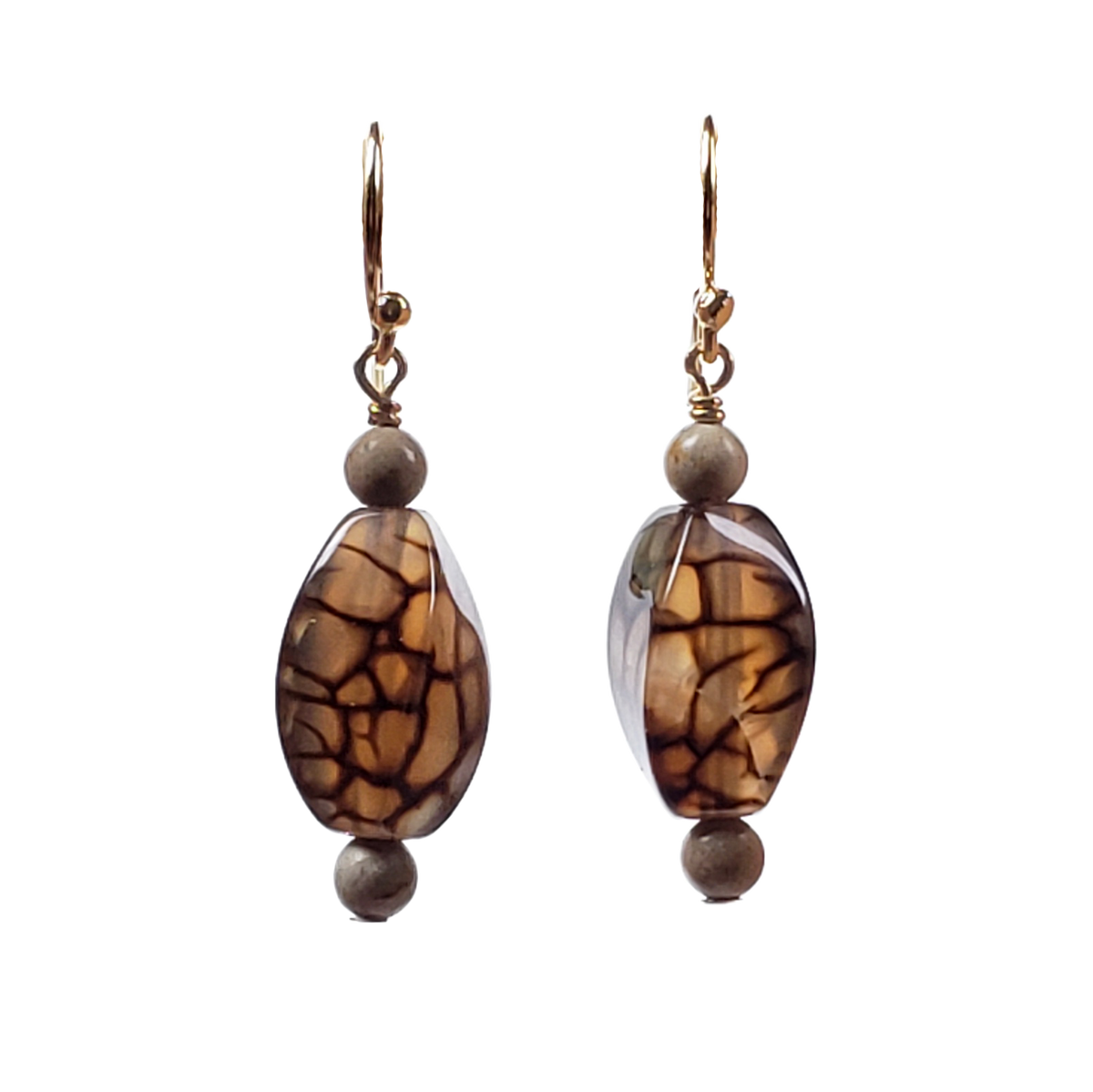River Stone & Cracked Agate Earrings