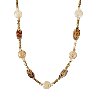 River Stone & Cracked Agate Necklace