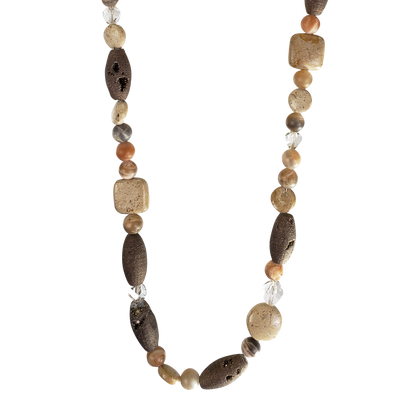 River Stone & Geode Necklace