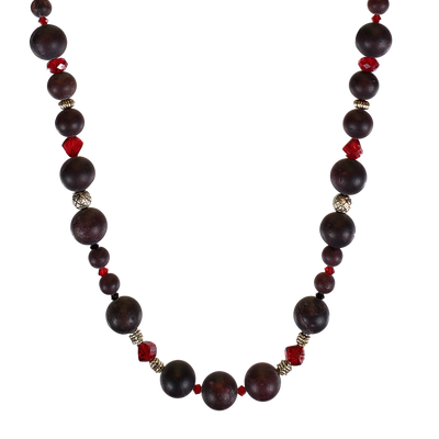 Tumbled Garnet & Swarovski Necklace
