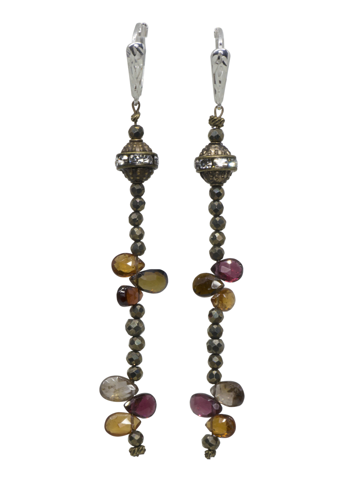 Tundra Sapphire and Pyrite Earrings (L)