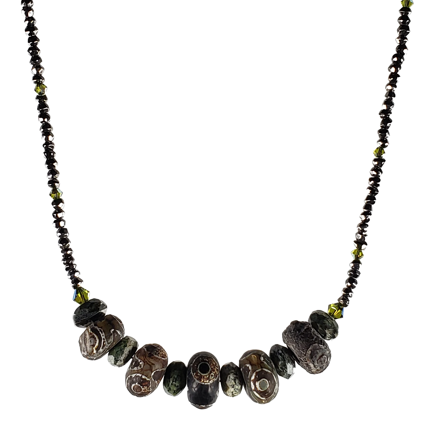Zebra Stone, Dzi & Hematite Necklace