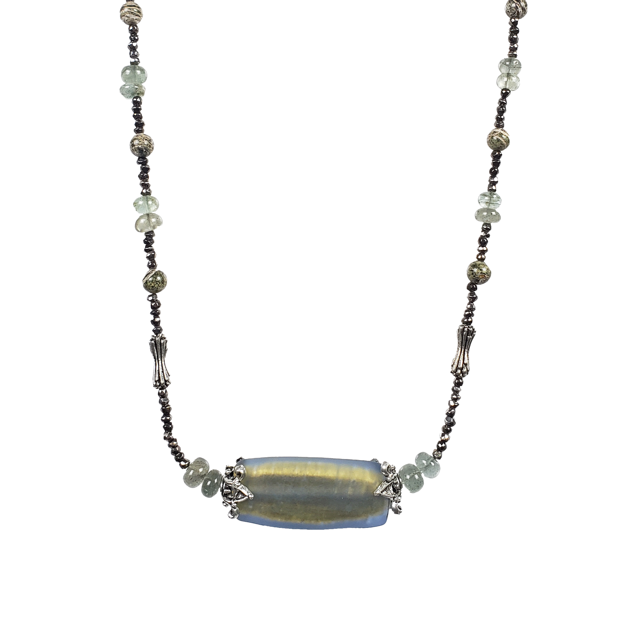 Zebra Stone, Moss Aquamarine, Venetian Glass & Pewter Necklace