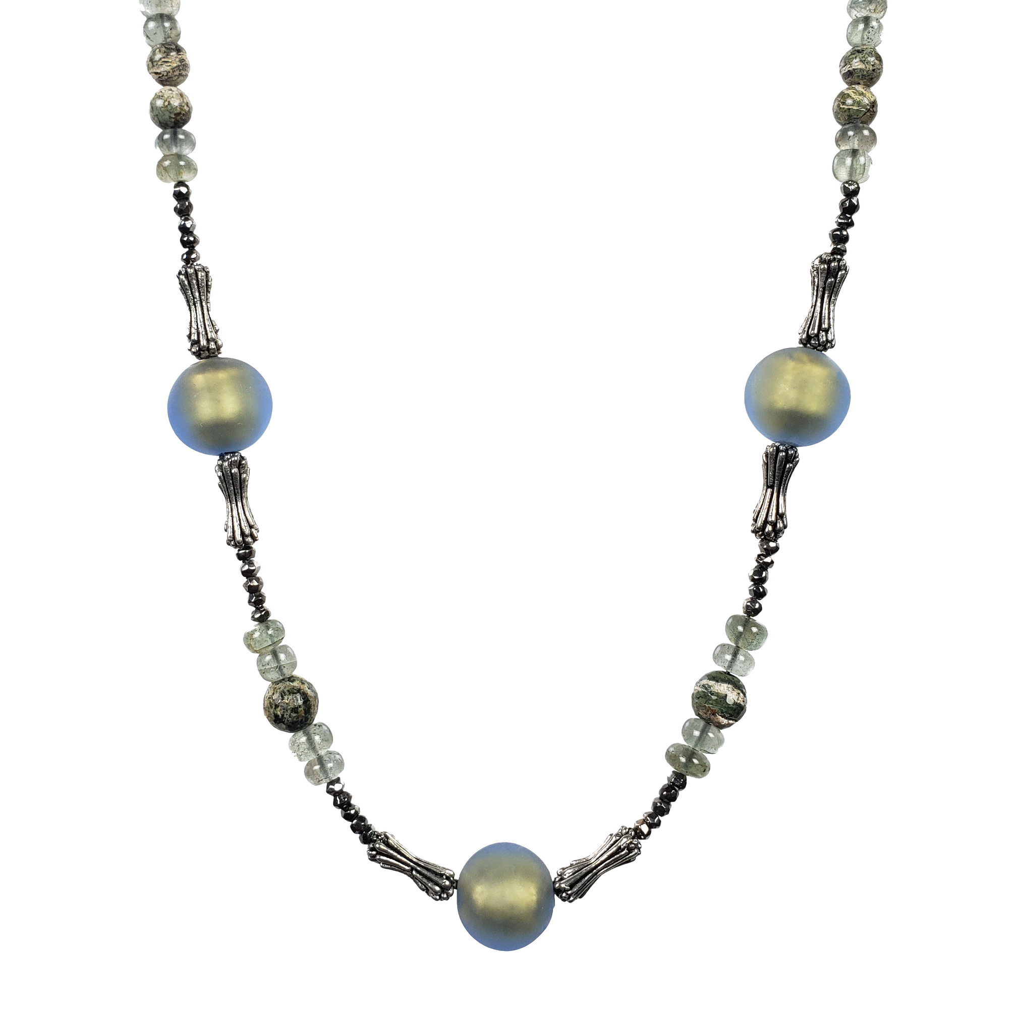 Zebra Stone, Moss Aquamarine, Venetian Glass & Pewter Necklace 2