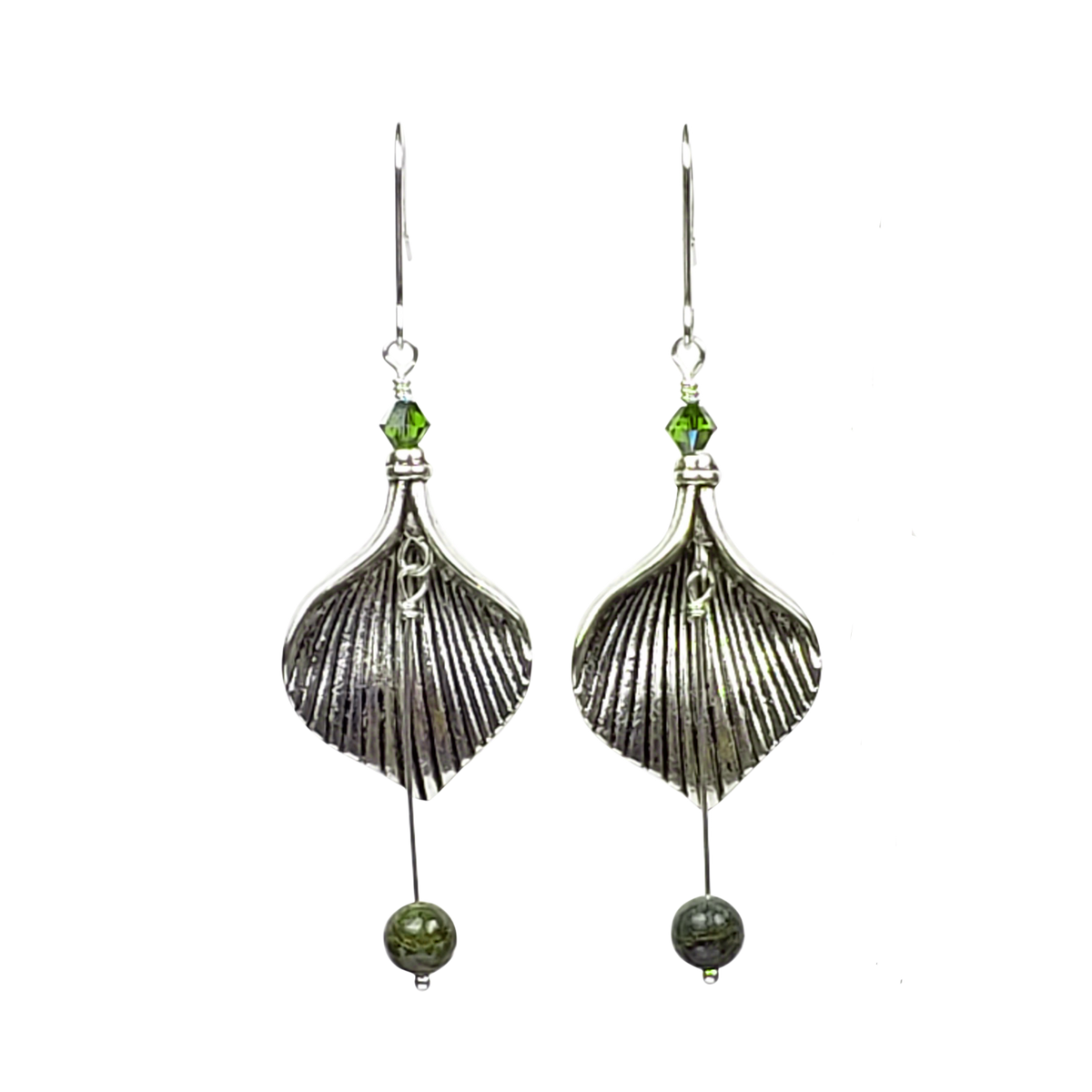 Leaf Earrings - Zebra Stone