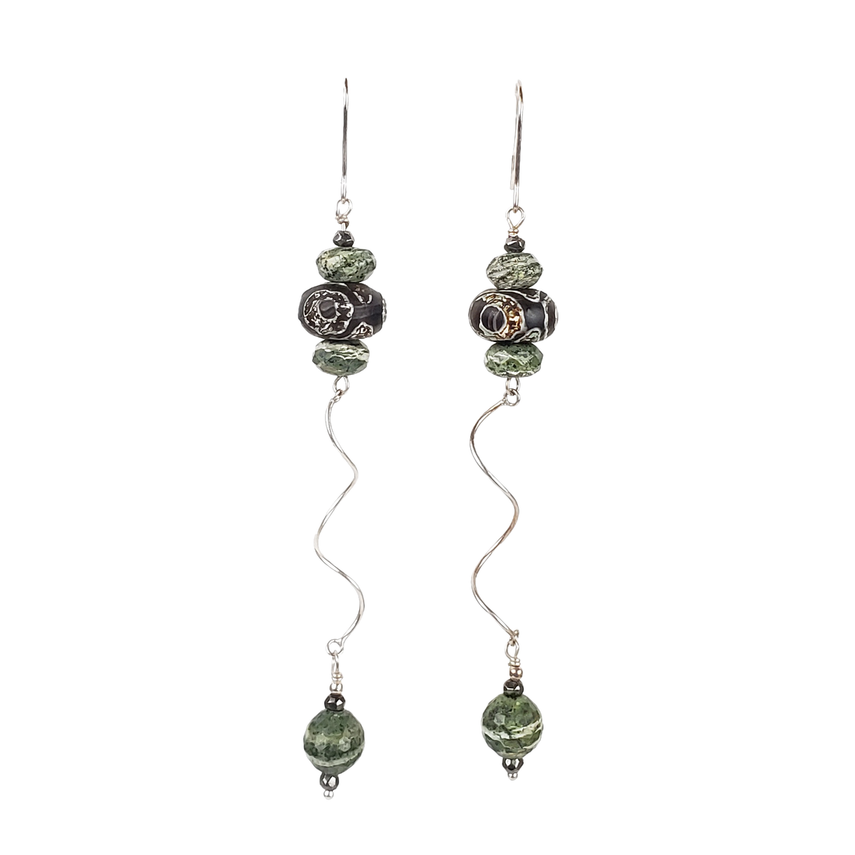 Zebra Stone & Sterling Spiral Earrings