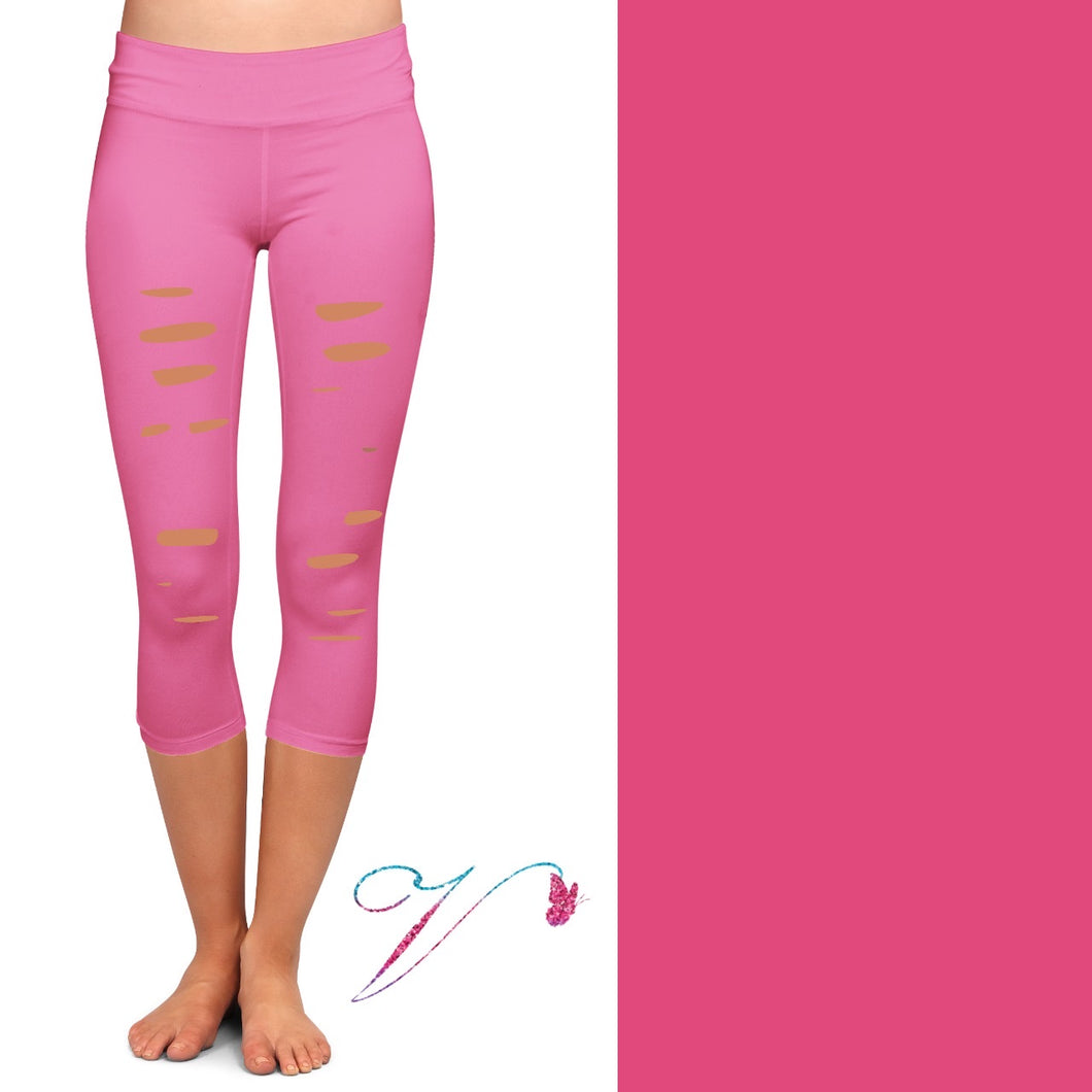 Pink capris with cutouts and pockets