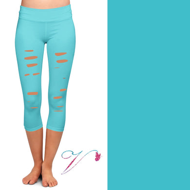 Teal capris with cutouts with pockets