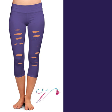 Purple capris with cutouts and pockets