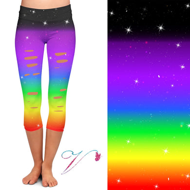 Rainbow capris with cutouts and pockets