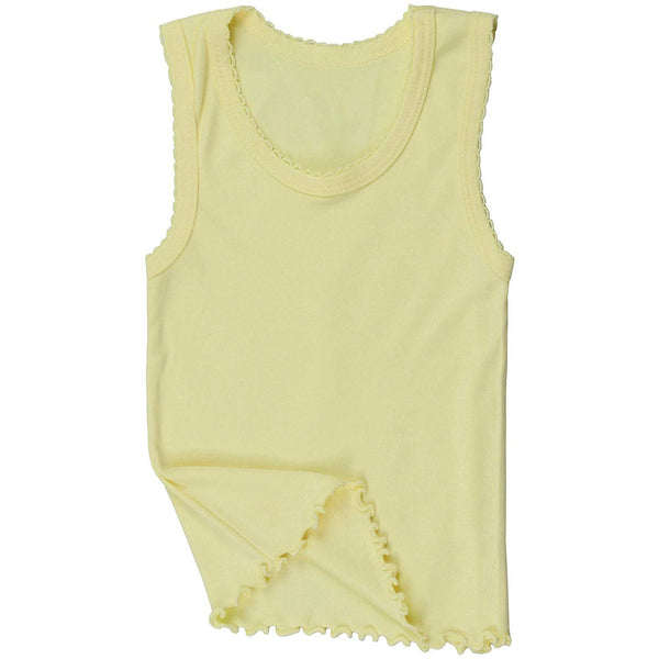 ToBeInStyle Girl's 4 Pack Ruffle Hem Cotton Tank Tops