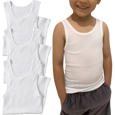 ToBeInStyle Boy's 3 Pack Basic White A-Shirt Cotton Blend