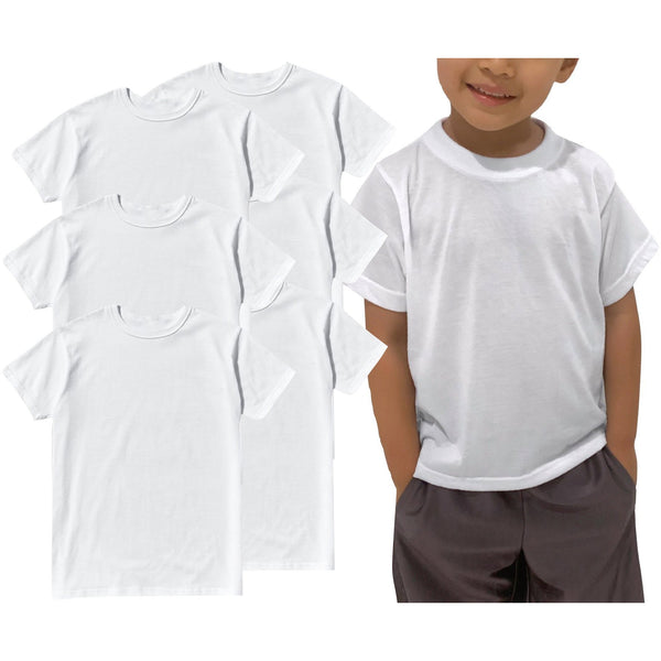 ToBeInStyle Boy's 3 Pack Classic White T-Shirt Cotton Blend