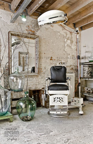 vintage industrial barbers chair