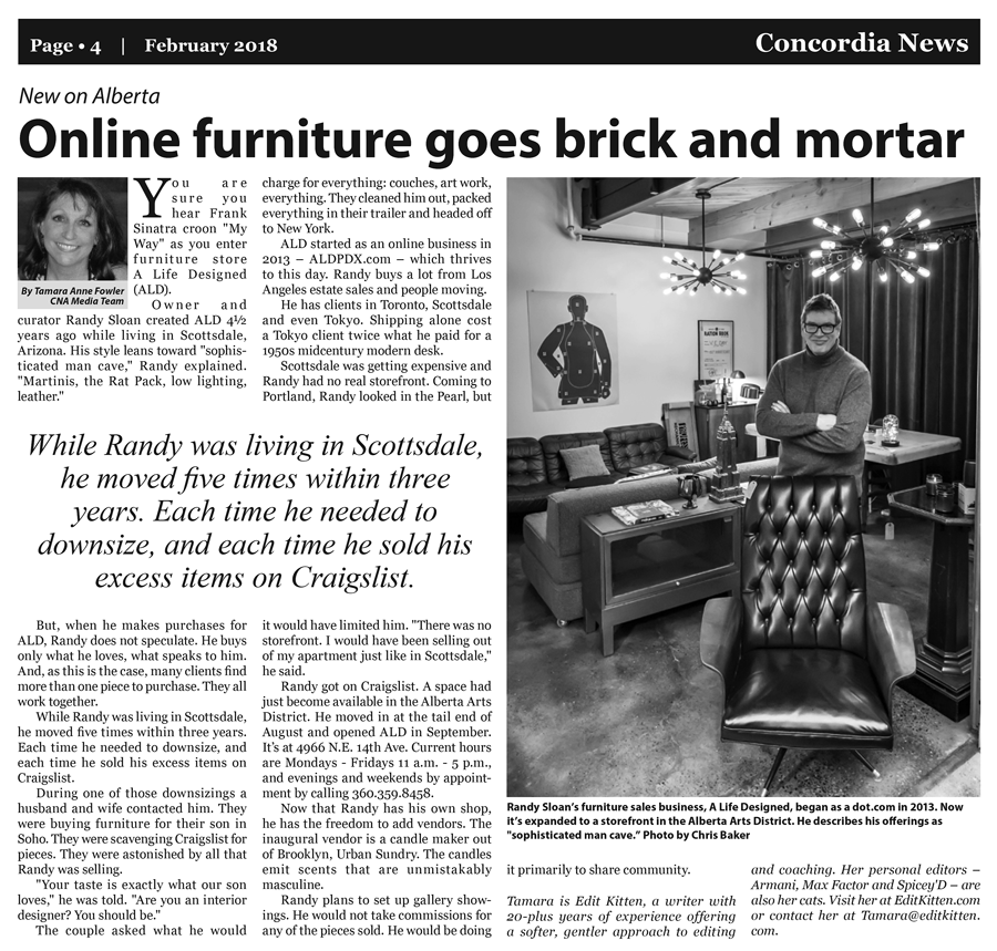 A Life Designed feature article in Cascadia News of Portland Oregon