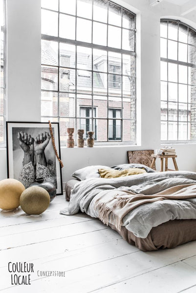 industrial loft style bedroom