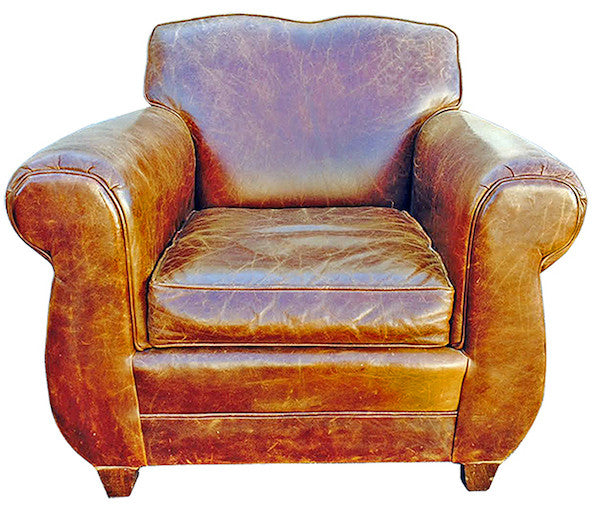 Restoration Hardware leather club chair sold @ A Life Designed
