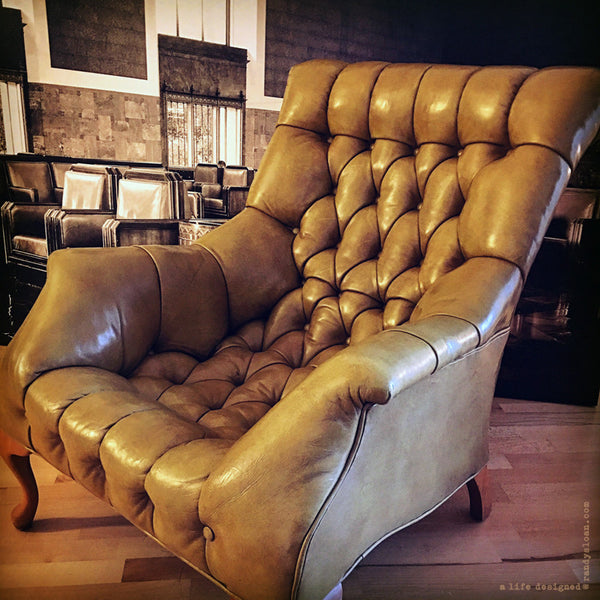 Unique vintage leather chair at A Life Designed