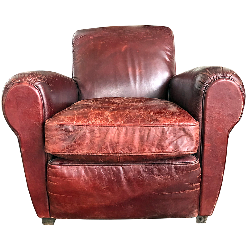 restoration hardware Parisian leather oxblood chair @ randy sloan interior design only $795