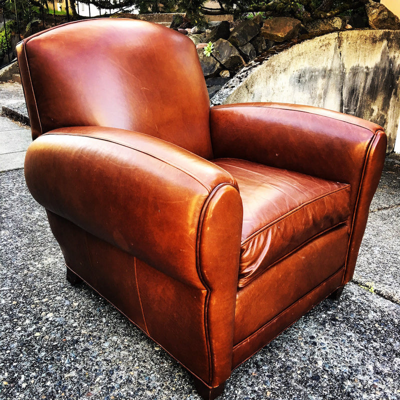 Vintage Pottery Barn Manhattan Leather Armchair