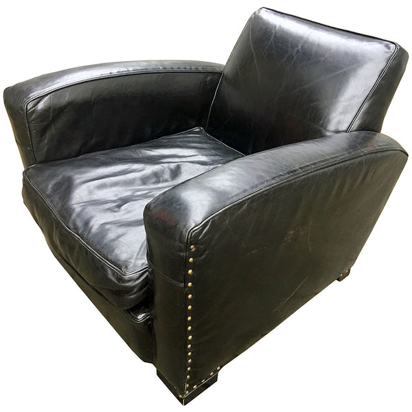 restoration hardware leather library chair @ A Life Designed