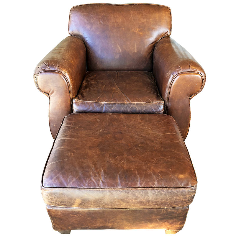 Restoration Hardware distressed leather club chair WITH ottoman available @ A Life Designed