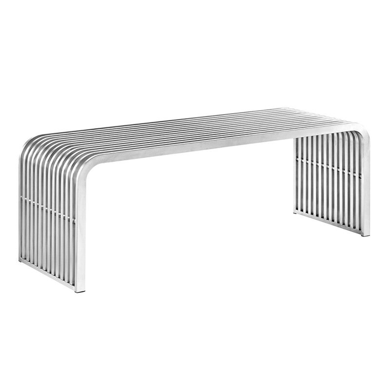Stainless Steel Pipe  Bench, Silver available @ A Life Designed