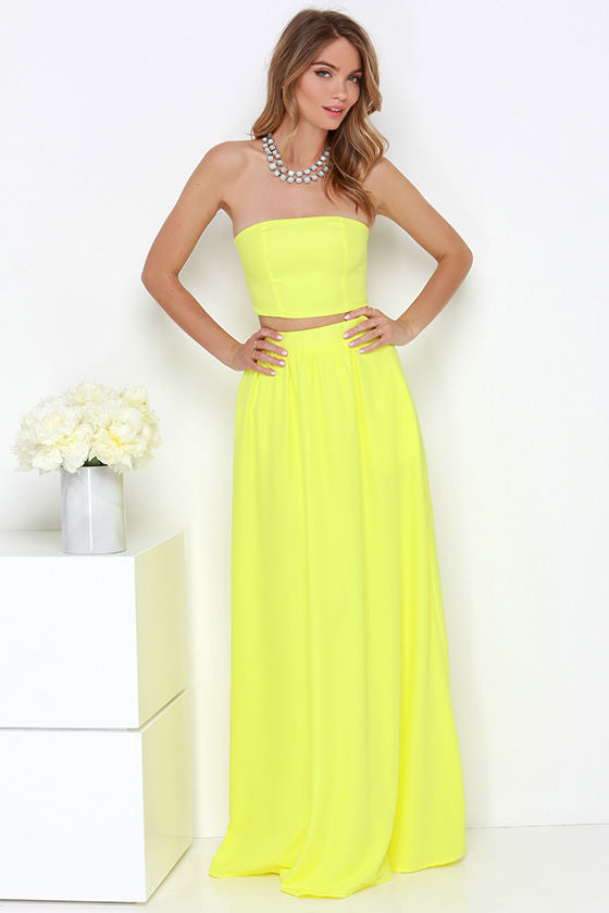 BOUTIQUE Long Yellow Two Piece Set Size M