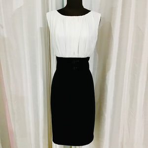 CALVIN KLEIN Short Black & White Gown Size 12