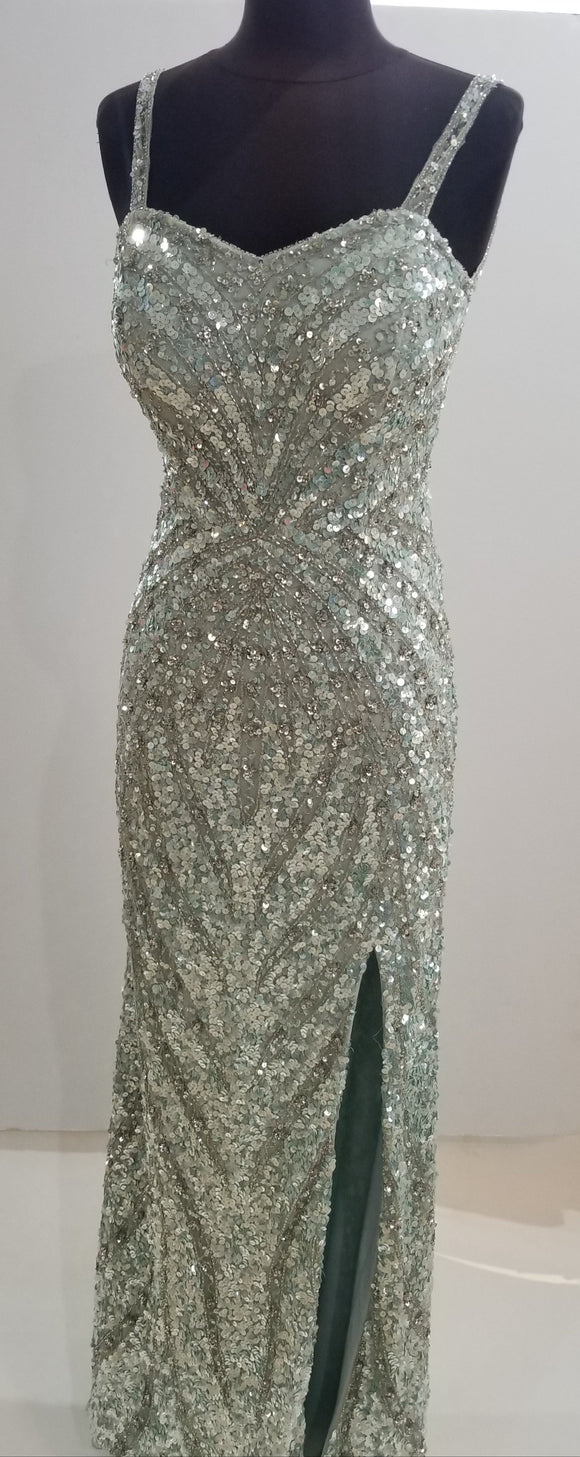 JASZ COUTURE Seafoam Sequin Long Gown Size 2