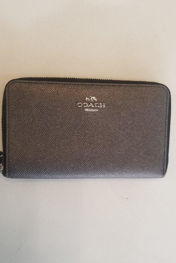 COACH Gunmetal Wrap Around Wallet Medium Size