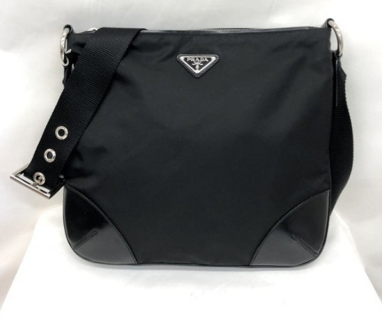 PRADA Crossbody Triangle Plate Square Sling Ladies Men 389256 Ryb4992 Black Nylon/Leather Shoulder Bag