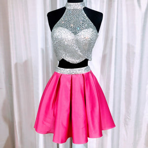 DAVE AND JOHNNY SHORT SMALL 2 PIECE SILVER AND PINK SIZE 0