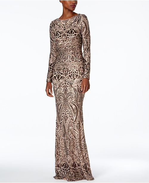 BETSY & ADAM Long 3/4 Sleeve Sequin Gown Size 2