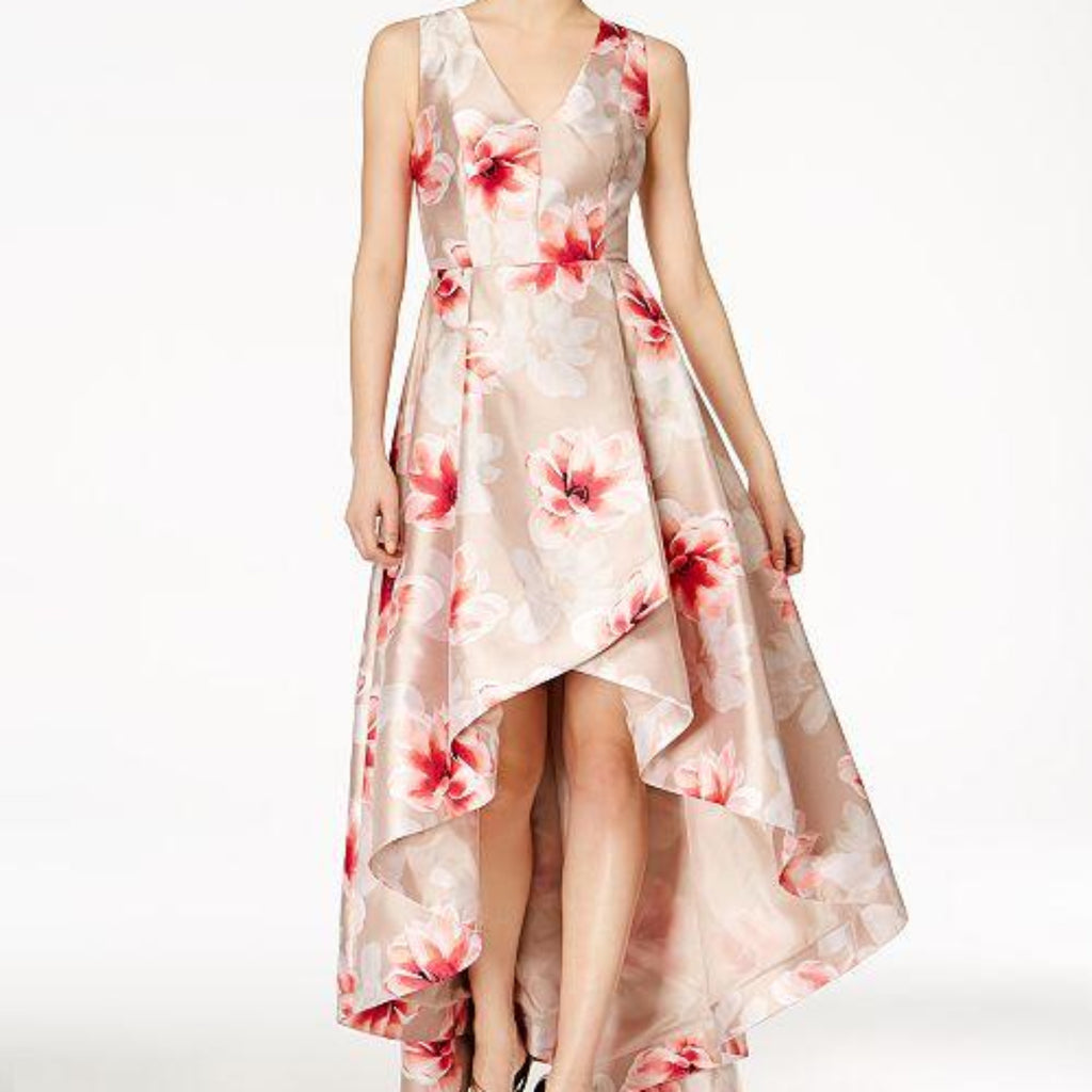 CALVIN KLEIN Tan & Floral High-Low Gown Size 4