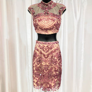 SHERRI HILL TWO PIECE PINK EMBELLISHED SHORT DRESS SIZE 0