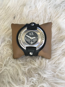 ARMANI EXCHANGE AX1004 Leather Cuff Mens Watch