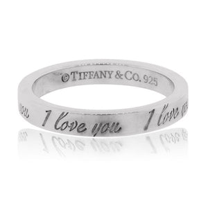 "TIFFANY & CO STERLING SILVER ""I LOVE YOU"" SIZE 6 RING"