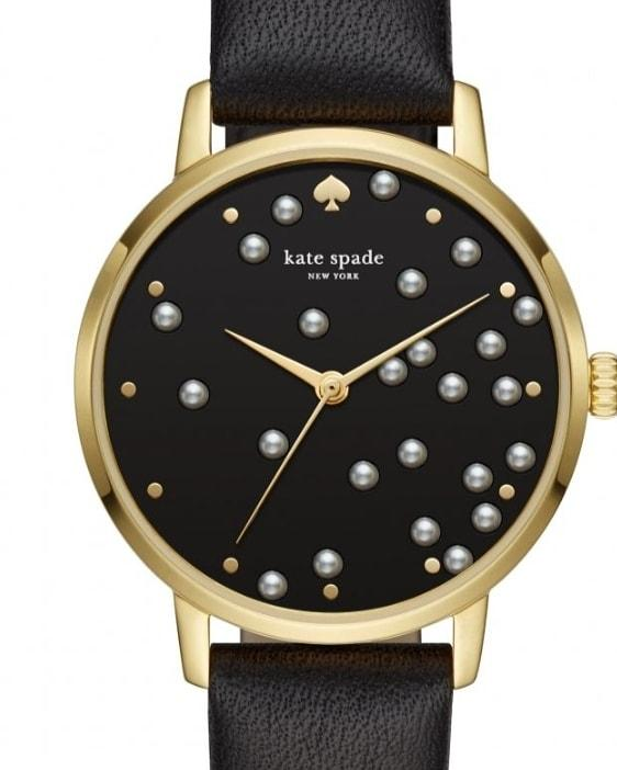KATE SPADE NY Women's Pearl Metro Black Leather Strap Watch 34 MM.