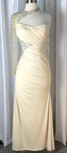 Night Moves By Allure Cream One Sleeve Long Gown Size 2