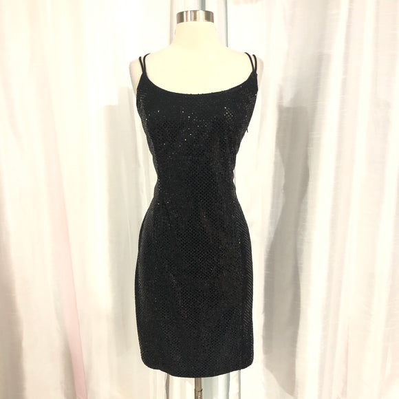 BARI JAY Short Black Sequined Gown Size 13/14