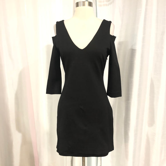BEBE Short Black Form Fitting Long Sleeve Gown Size M