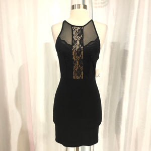 BOUTIQUE Short Black & Nude Form Fitting Gown Size 3/4