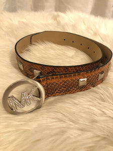 MICHAEL KORS Snakeskin Studded Belt