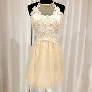 BOUTIQUE Short Cream & White Halter Gown Size 11